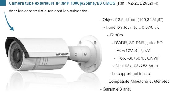 Caméra Tube IP 3MP 1080P